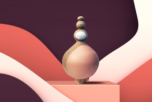 Abstract equilibrium still life installation with red and white primitive geometric shapes. 3d render illustration; Shutterstock ID 1334229929; Purchase Order: -