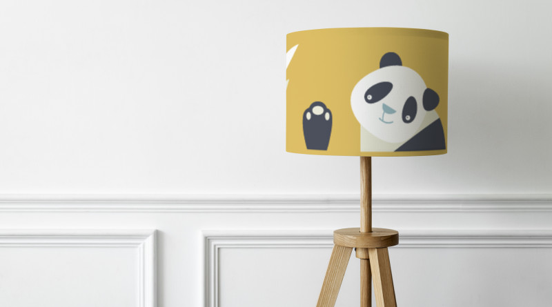 Floral patterned lamp mockup psd on a white wall minimal interior